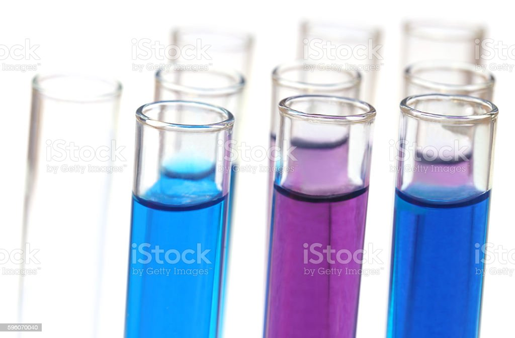 Test tubes with chemicals stock photo