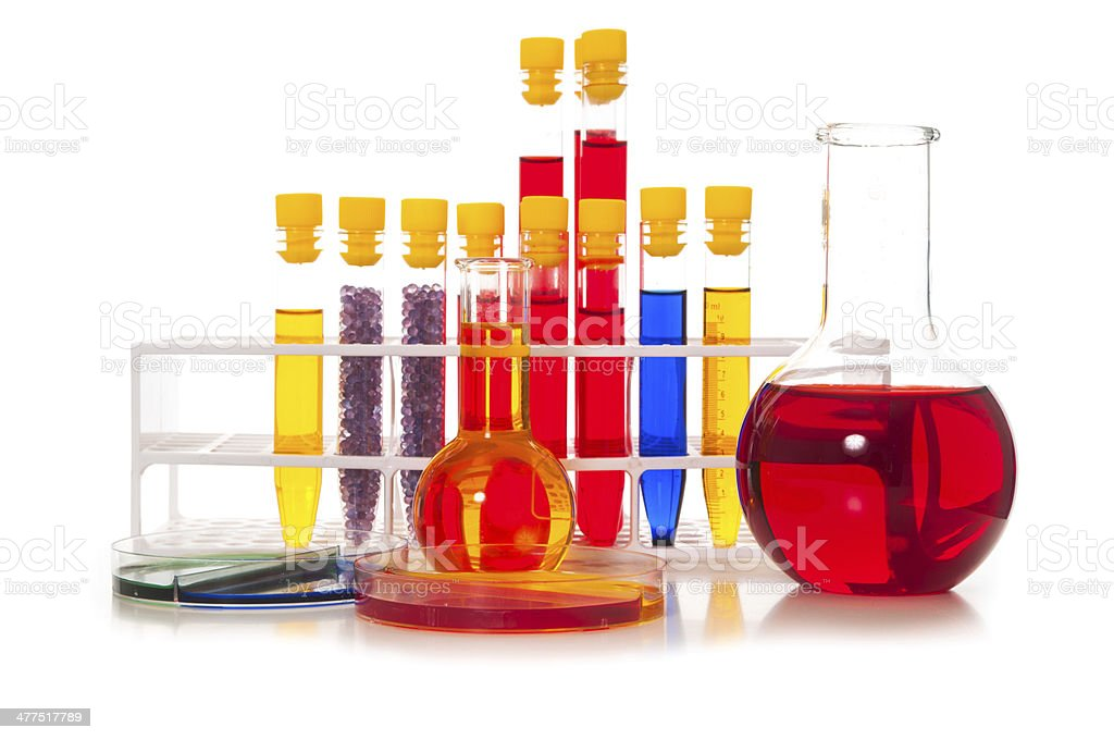 Test tubes with colored samples royalty-free stock photo