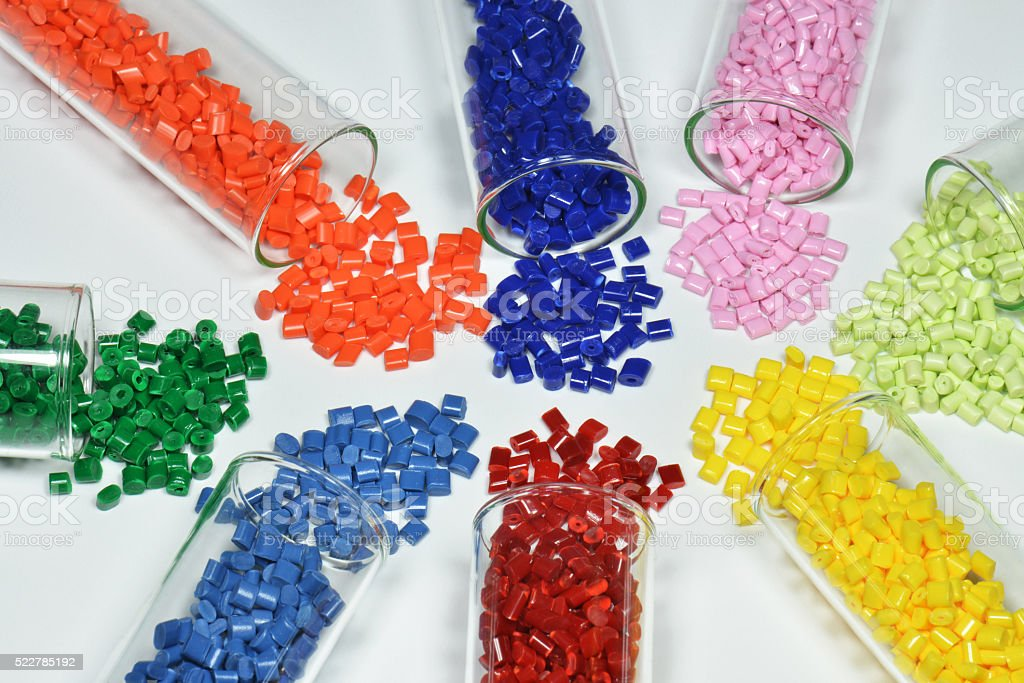 test tubes with polymer resin stock photo