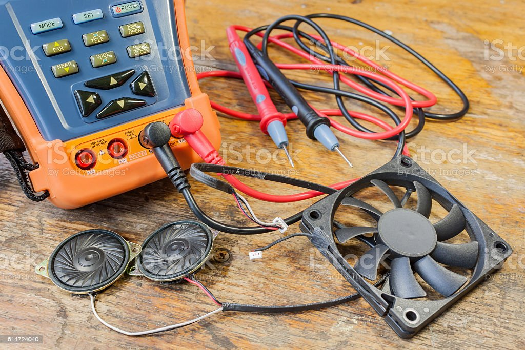 CCTV tester with probes, CPU fan and loudspeakers stock photo