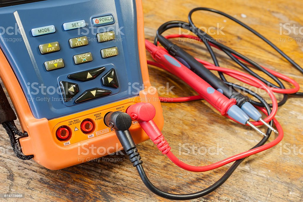 CCTV tester with probes on a table in a workshop stock photo