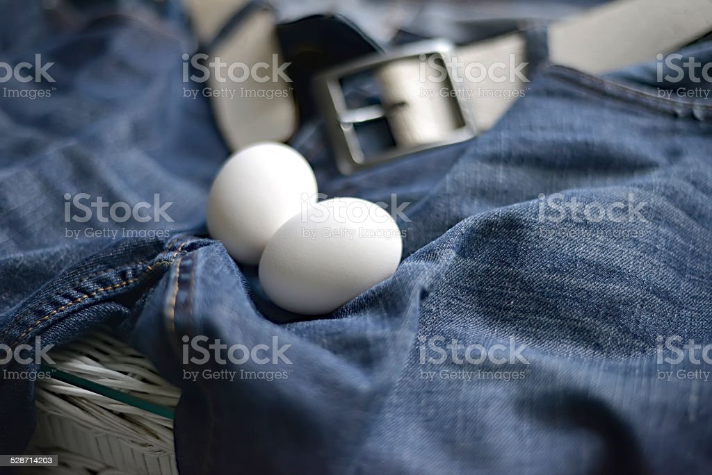 Testicles Jeans stock photo