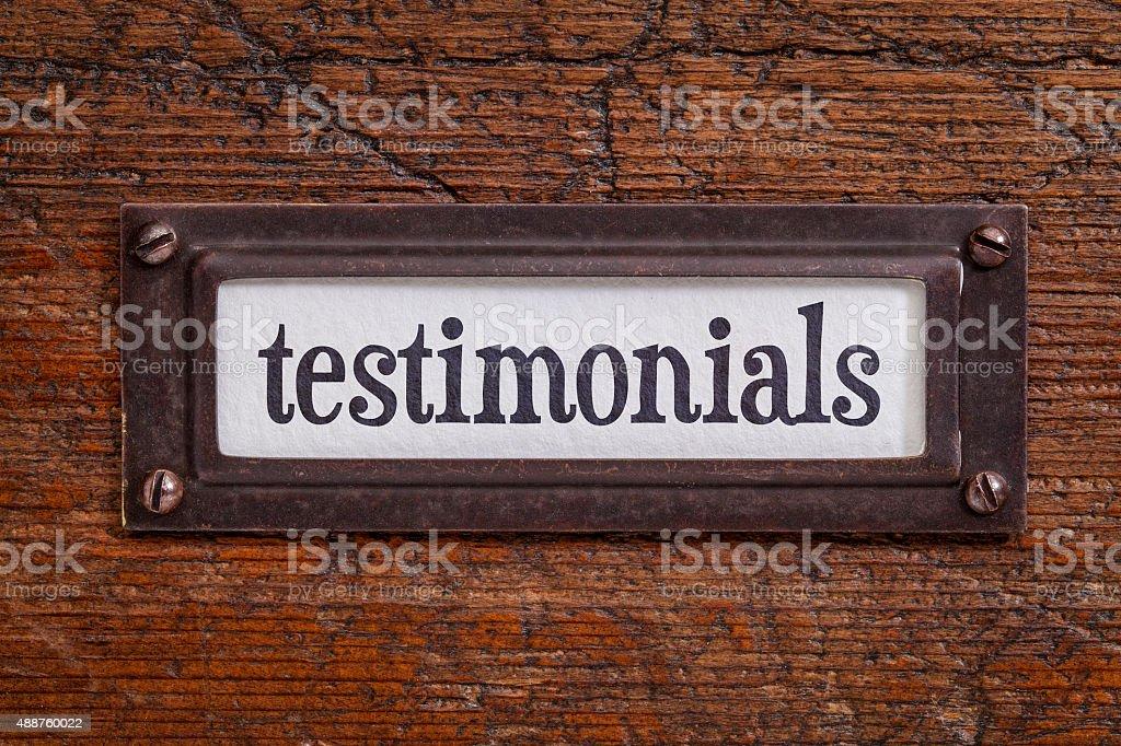 testimonials - file cabinet label stock photo