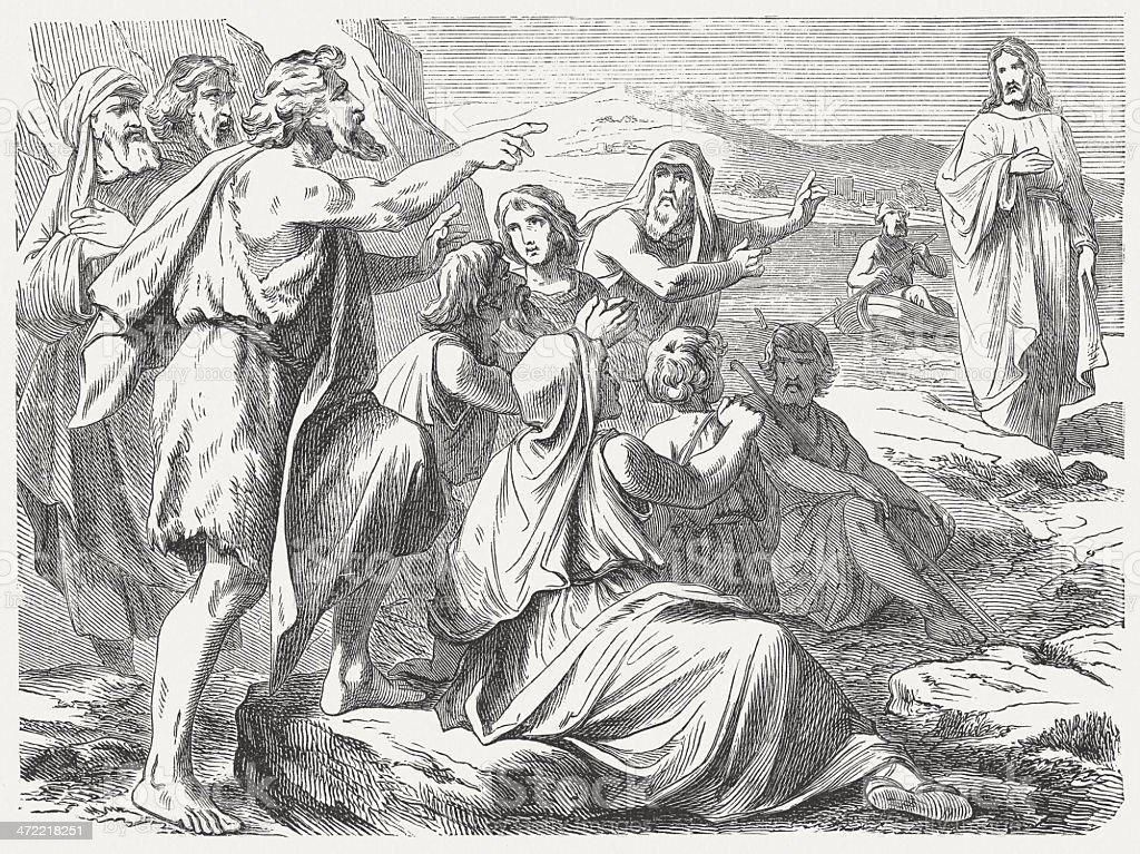 Testimony of John the Baptist (John 1, 29-31), published 1877 stock photo