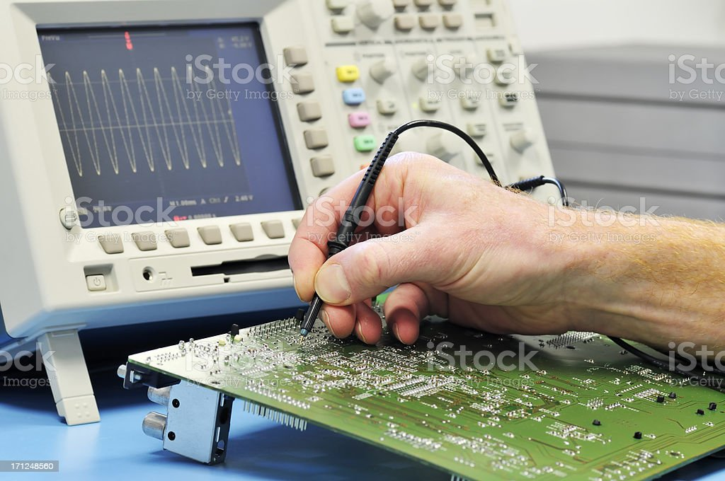 Testing  a circuit board royalty-free stock photo
