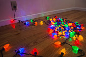 Testing a colorful Christmas lights before they are strung up