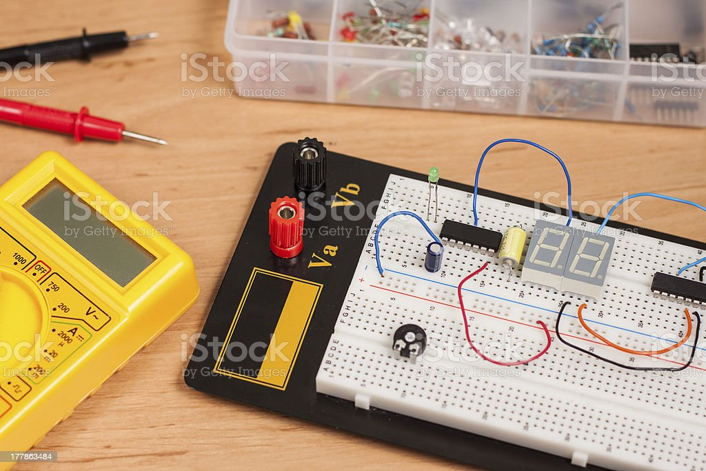 Testing electrical circuit on breadboard royalty-free stock photo