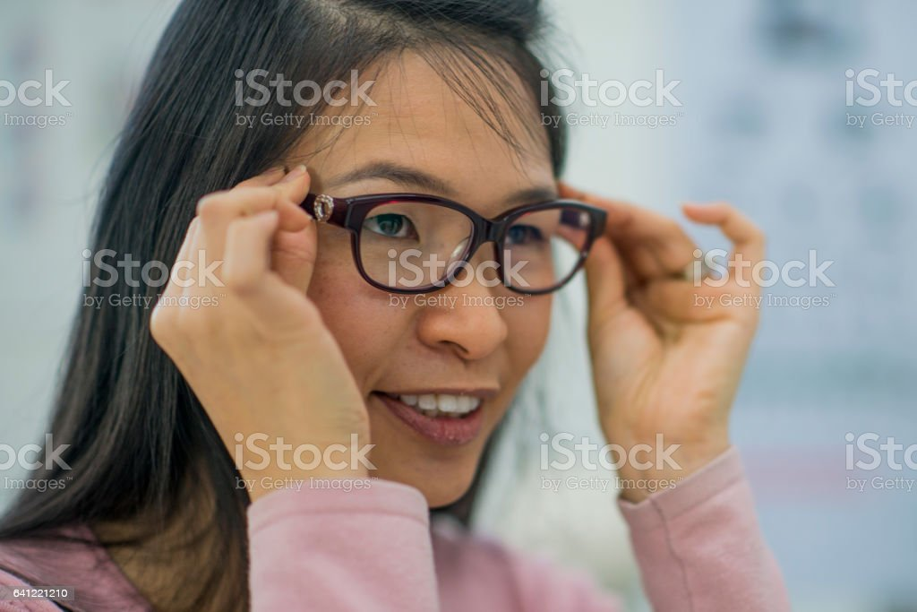 Testing New Glasses stock photo