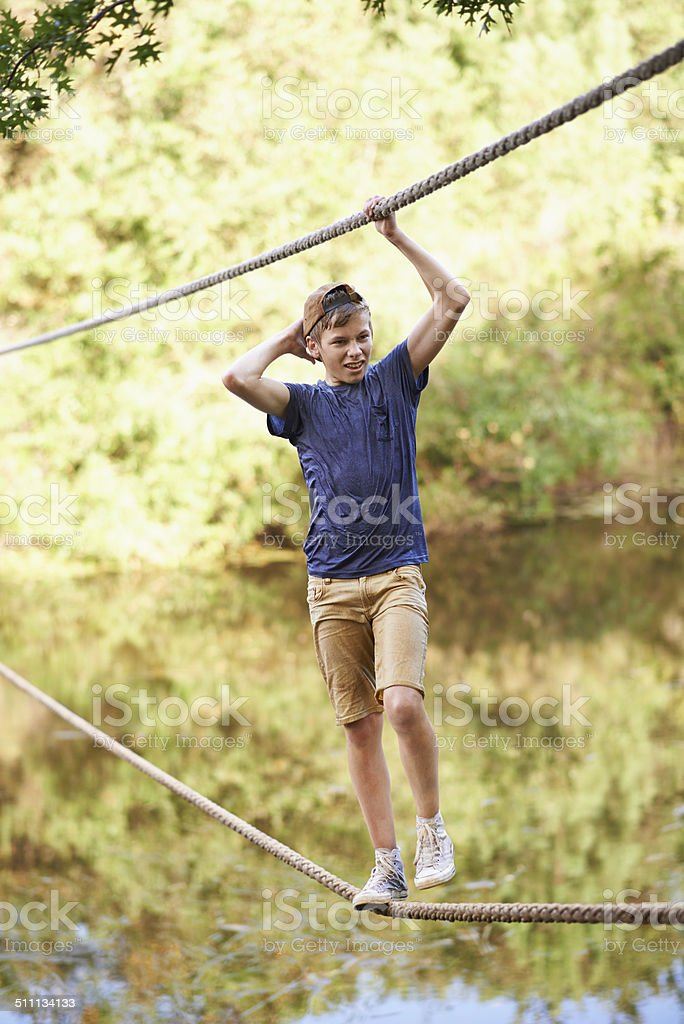 Testing out the obstacle course stock photo