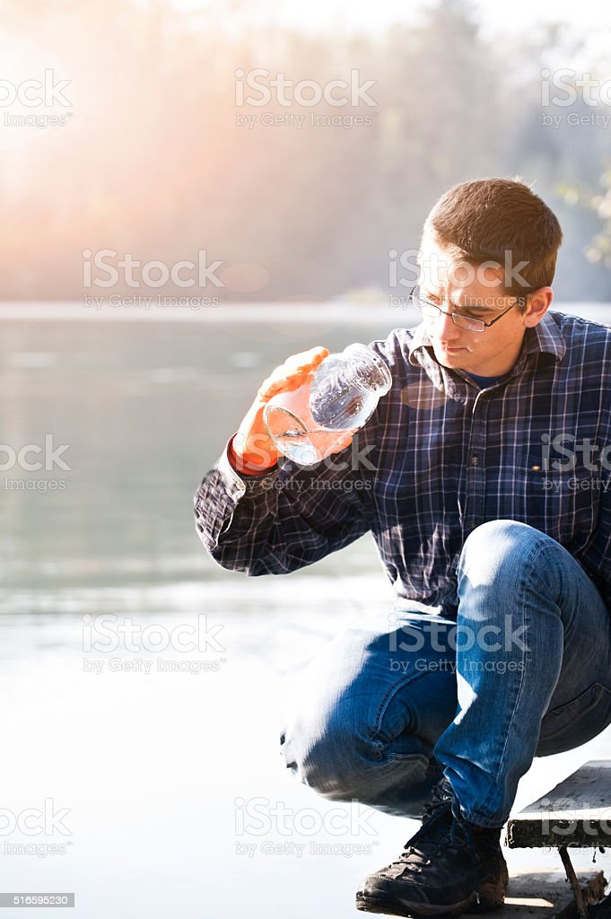 Testing quality of water stock photo