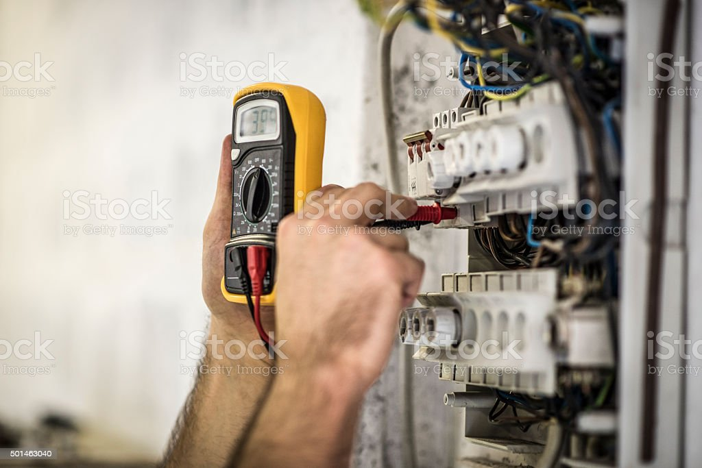 Testing voltage stock photo