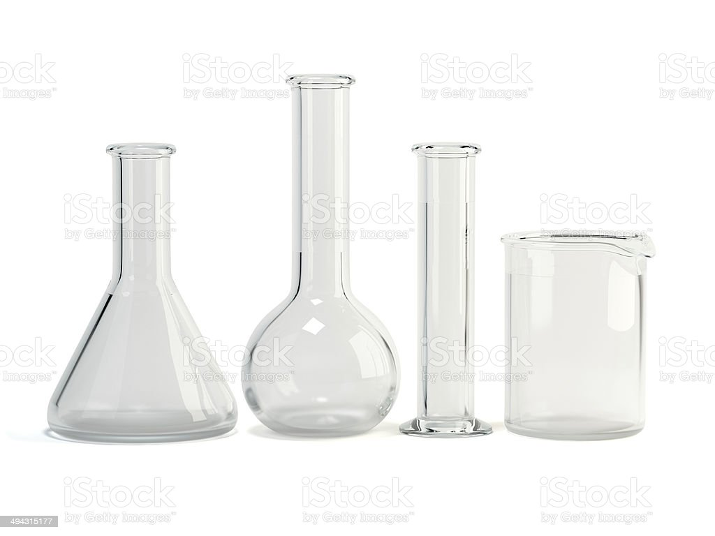 Test-tubes isolated on white background. Laboratory glassware. Chemical science equipment stock photo