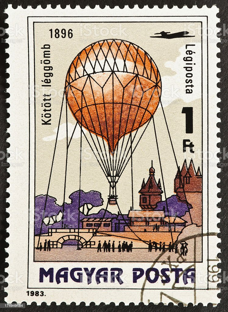 Tethered Balloon Stamp stock photo