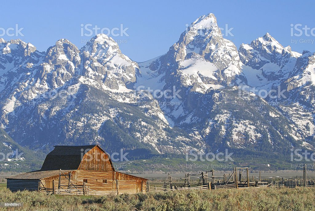 Teton Barn Sunrise royalty-free stock photo