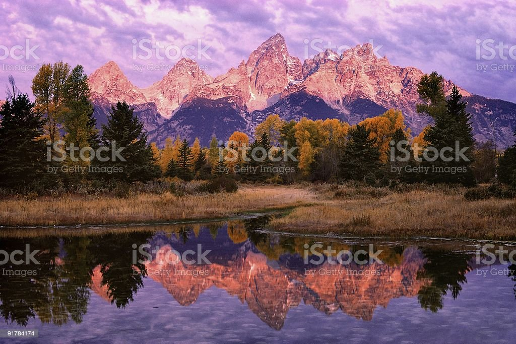 Teton Morning Reflection stock photo