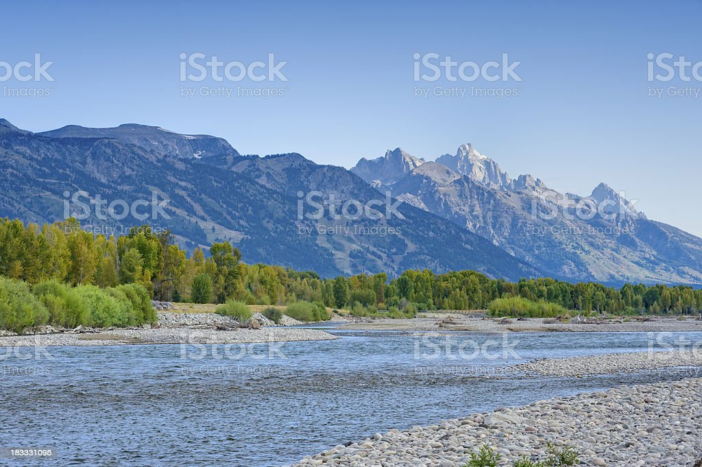Teton Mountain Range and Snake River royalty-free stock photo