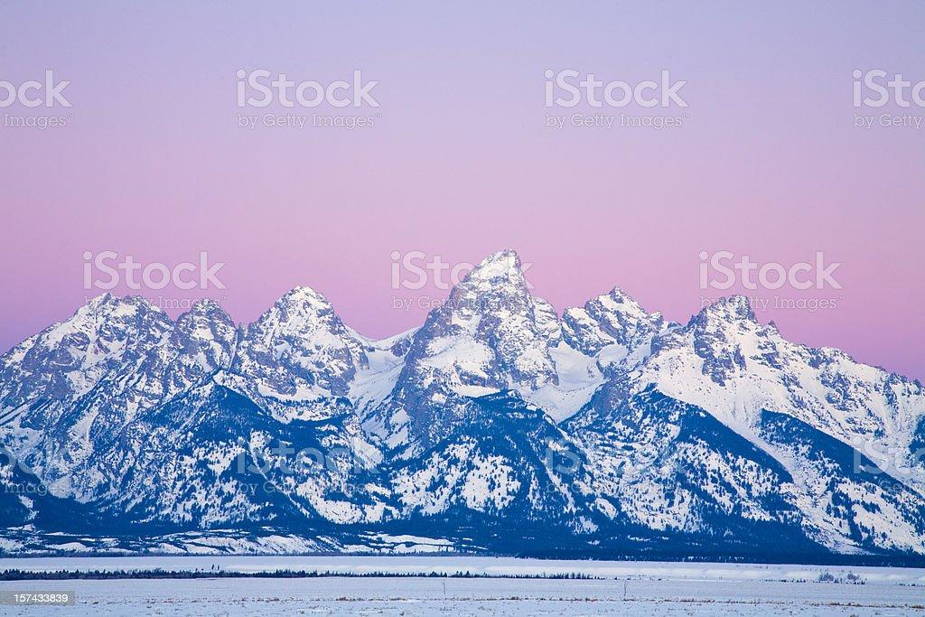Teton Mountain Range in Winter royalty-free stock photo