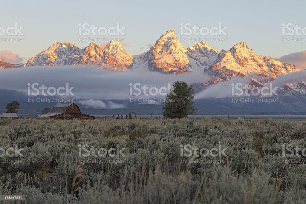 Teton Mountain Range JacKson, Wyoming stock photo