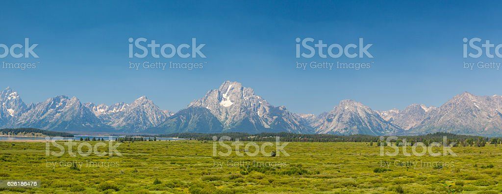 Teton mountains in Wyoming, USA - panorama image stock photo