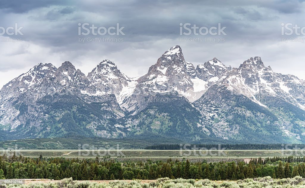 Teton Range at Snake River Grand Teton National Park Wyoming stock photo