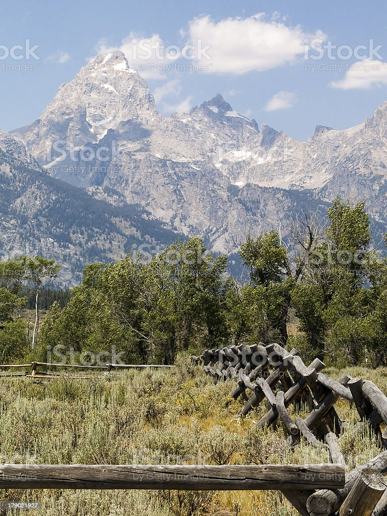 Teton Rustic Fence royalty-free stock photo