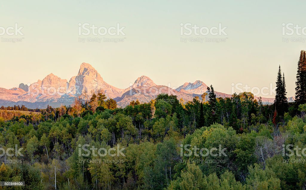 Teton sunset form the Idaho side stock photo