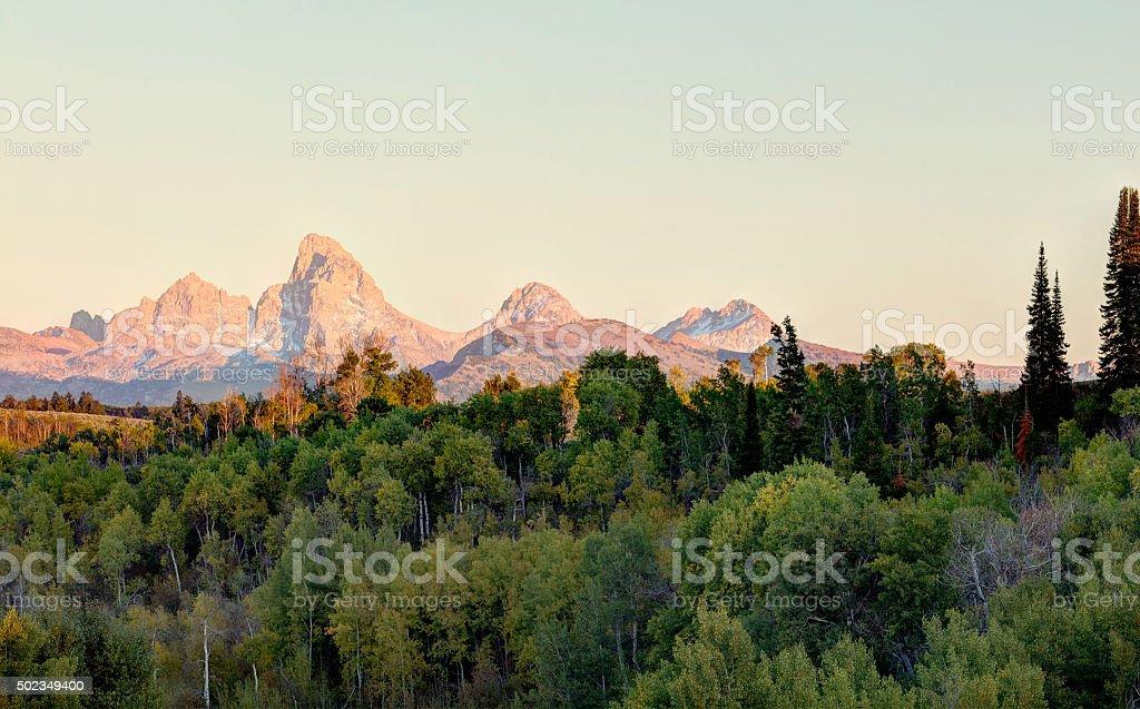 Teton sunset form the Idaho side stock photo