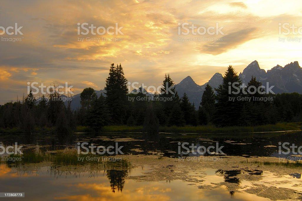 Teton Sunset royalty-free stock photo