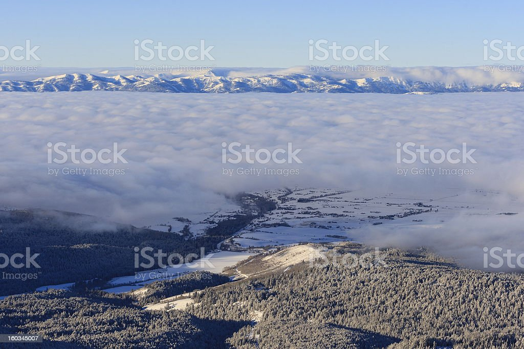 Teton Valley Under Fog stock photo