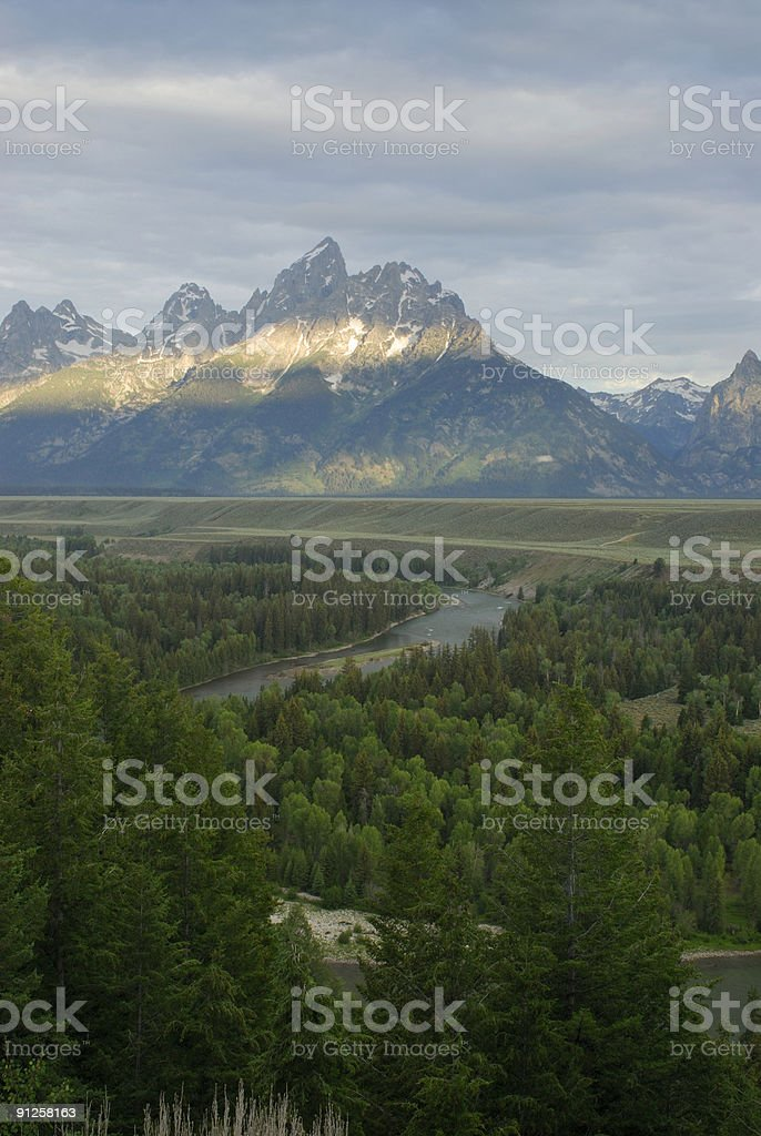Teton View from Snake River Overlook royalty-free stock photo
