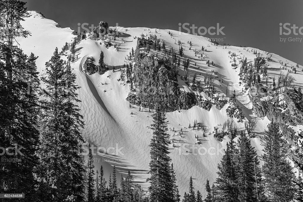 Teton winter ski chutes stock photo