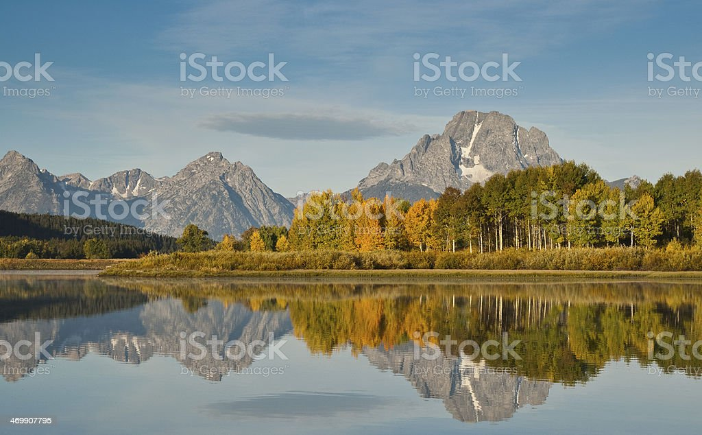 Tetons and Fall Colors Reflected in the Snake River stock photo