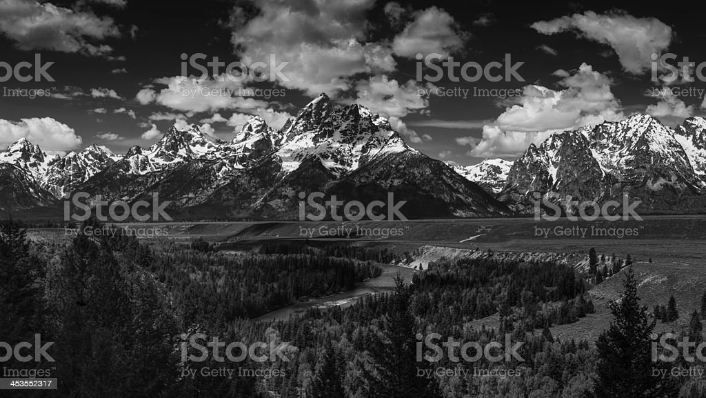 Tetons and the Snake River royalty-free stock photo