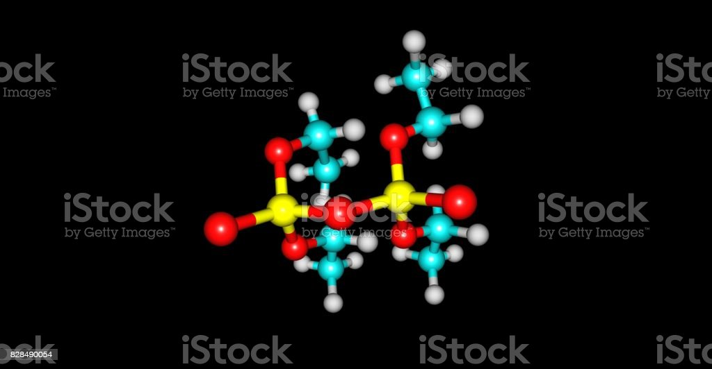 Tetraethyl pyrophosphate molecular structure isolated on black stock photo
