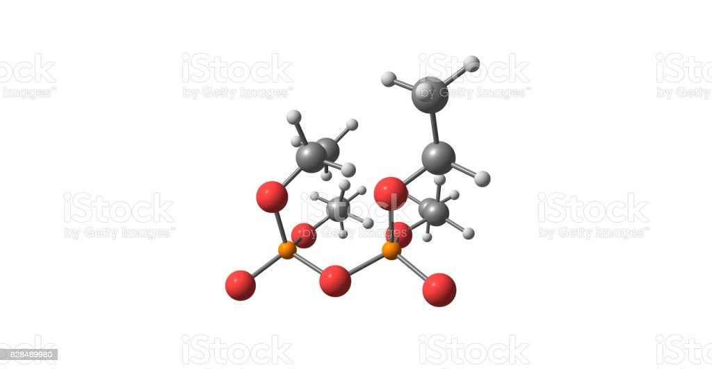 Tetraethyl pyrophosphate molecular structure isolated on white stock photo