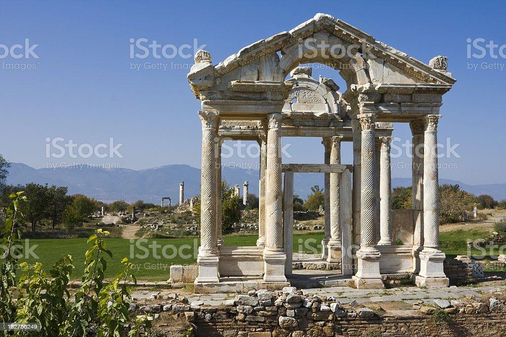 Tetrapylon: Entrance to temple at Aphrodisias, Roman ruin, Turkey royalty-free stock photo