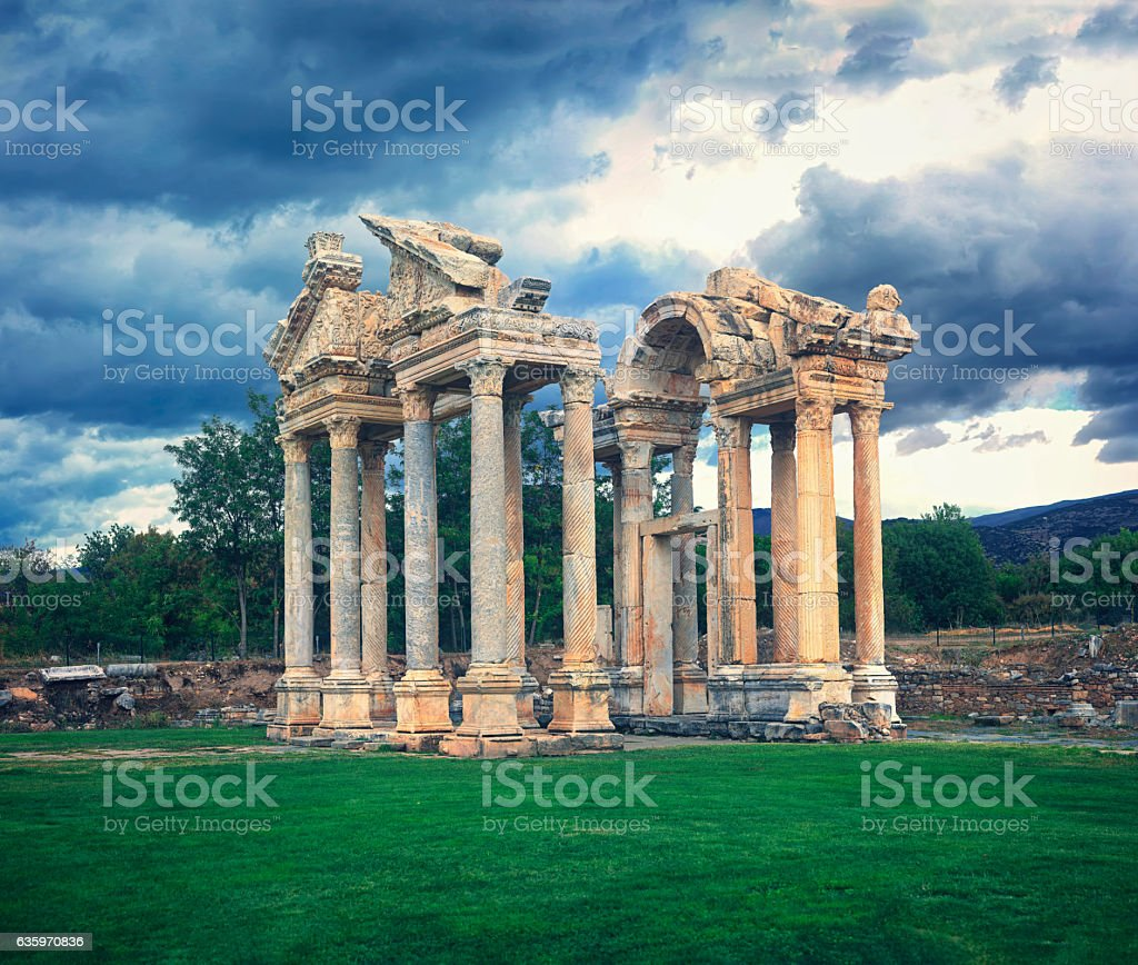 Tetrapylon of Aphrodisias stock photo