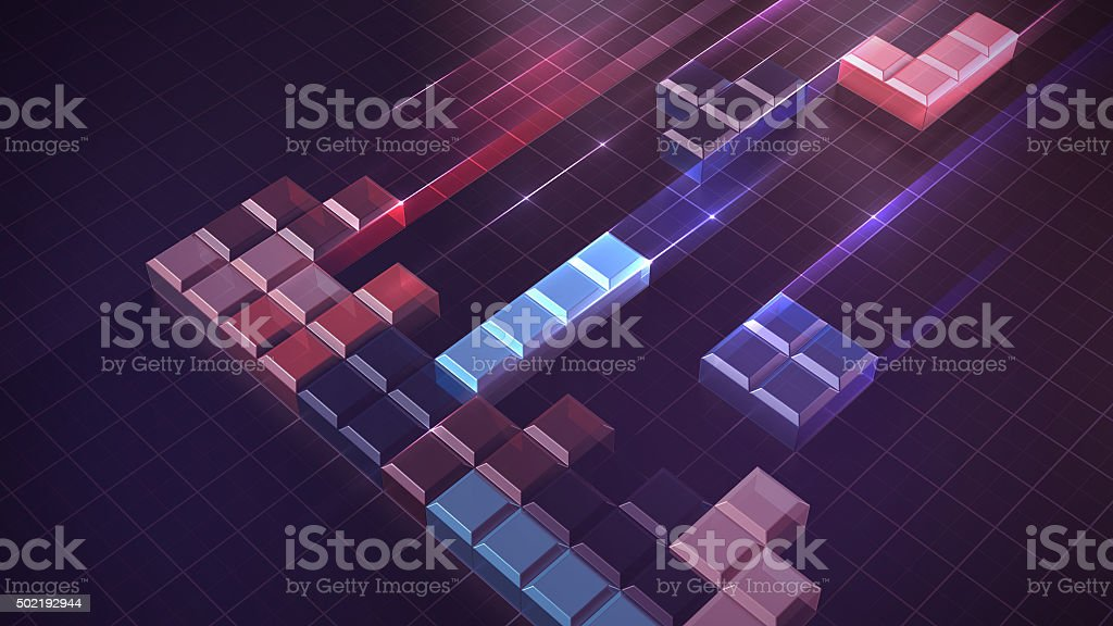 Tetris blocks concept of building and problem solving stock photo