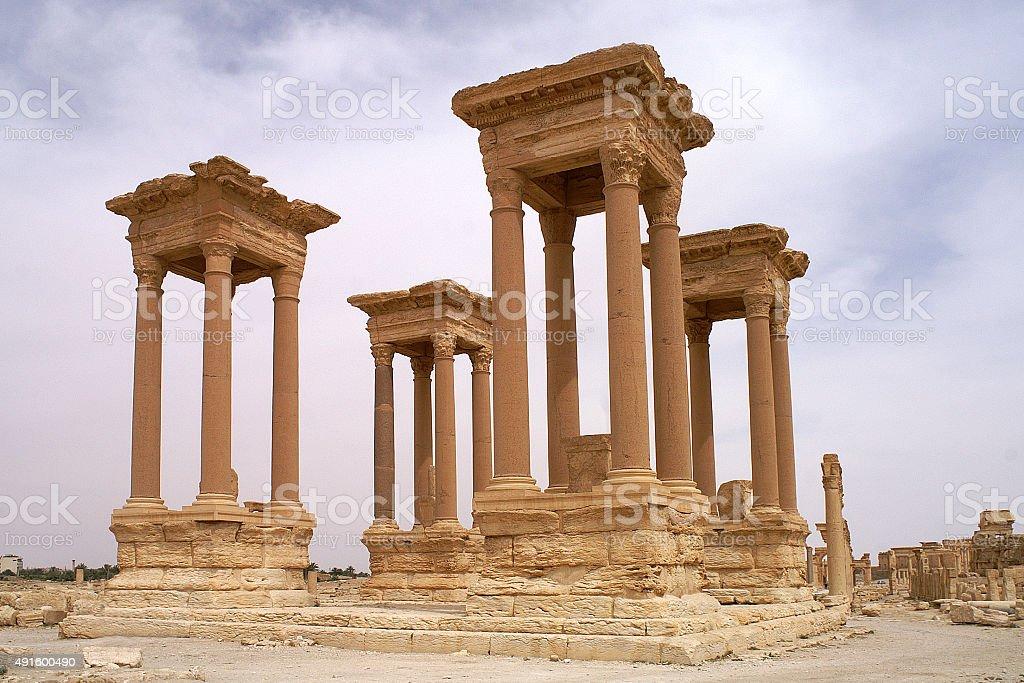 Tetrrapylone at temple complex in Palmyra Syria. stock photo