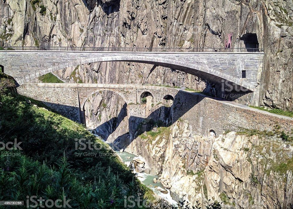 Teufelsbrücke or Devil's Bridge stock photo