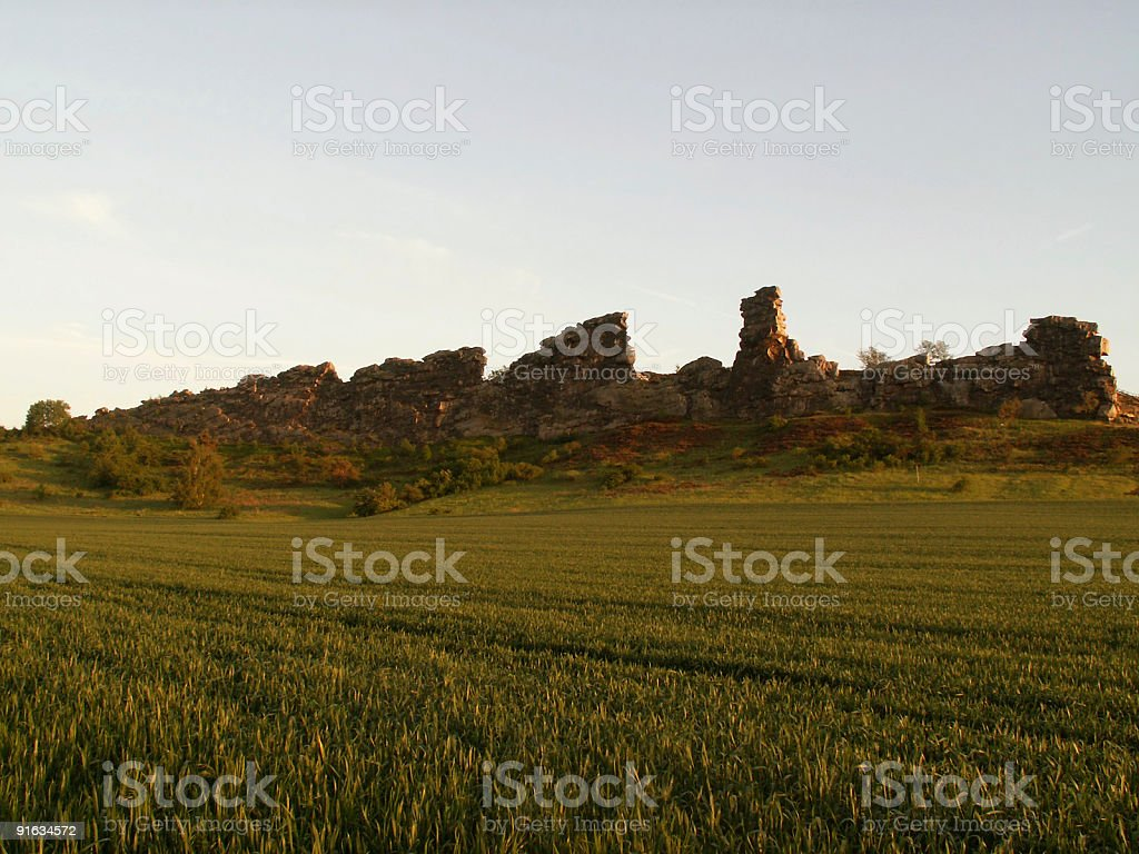 Teufelsmauer im Harz (natural landmark 'devils wall' in Germany) royalty-free stock photo