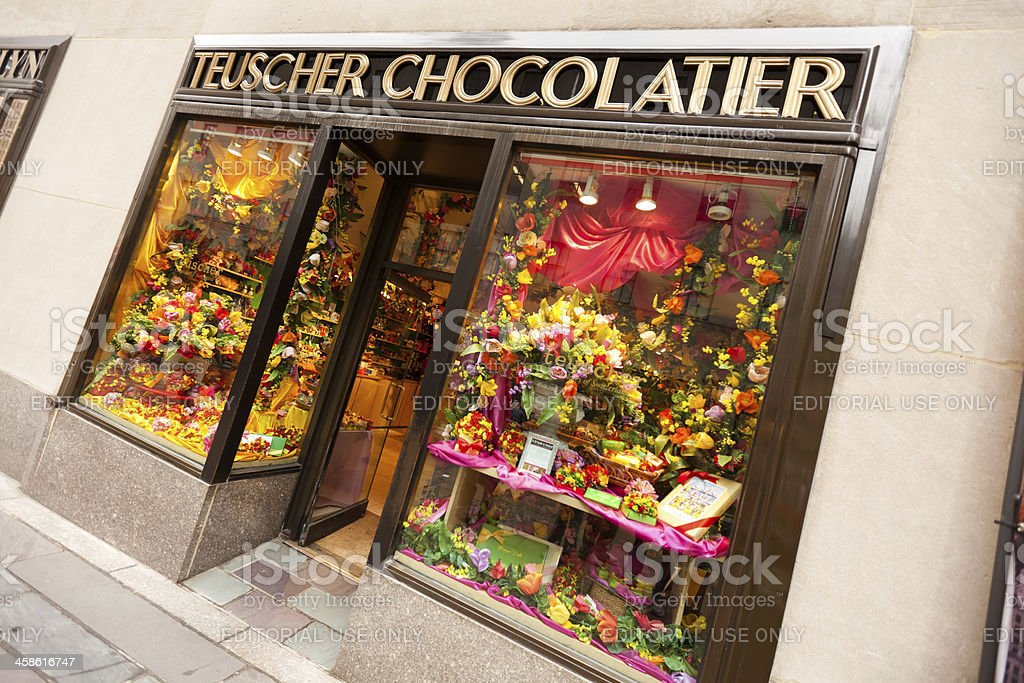Teuscher Chocolatier in Rockefeller Center stock photo