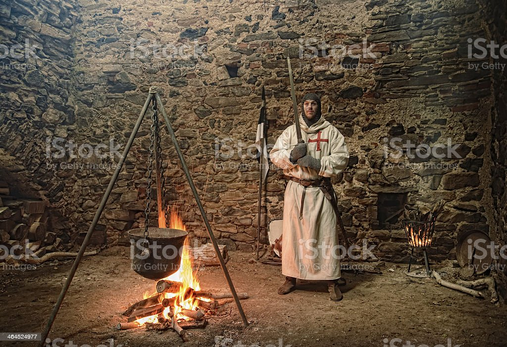 Teutonic knights at the campfire royalty-free stock photo