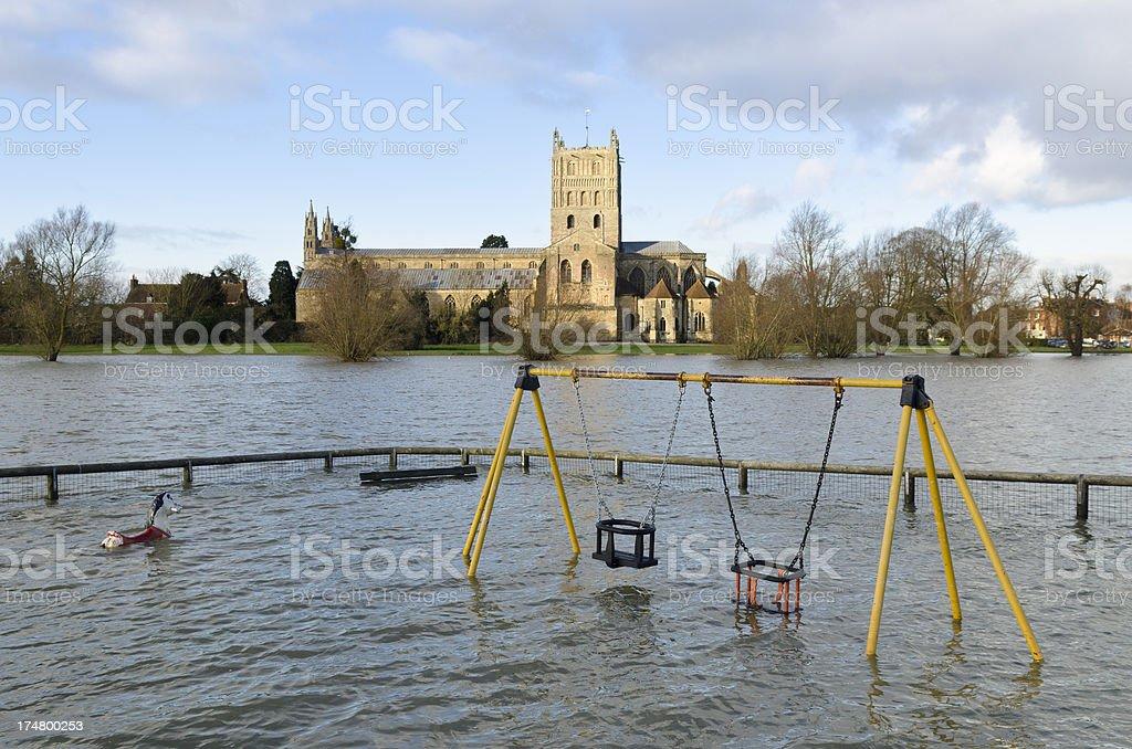 Tewkesbury Abbey, floods, Gloucestershire stock photo