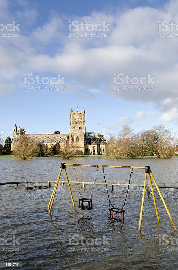 Tewkesbury floods, Gloucestershire royalty-free stock photo