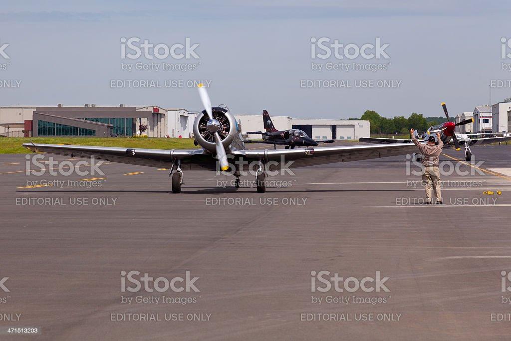 AT-6 Texan aircraft on runway. royalty-free stock photo