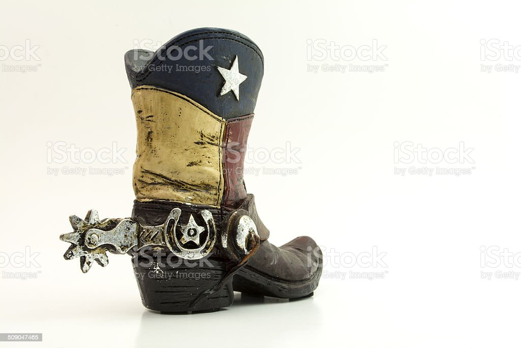 Texan Flag Cowboy Boot stock photo