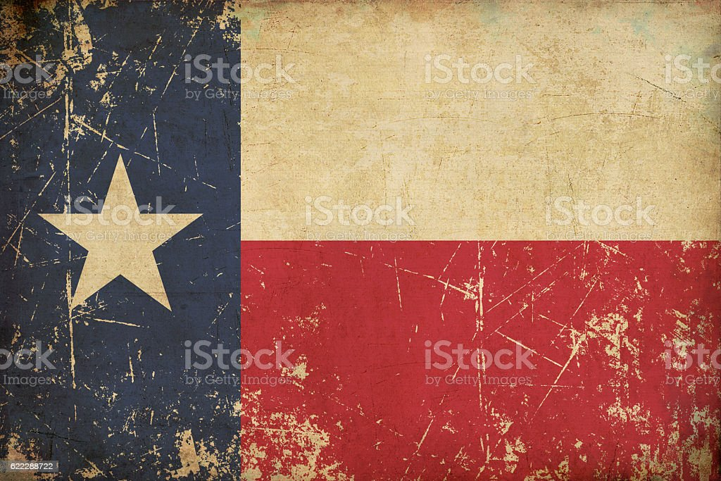 Texan Old Flat Flag Scratched & Aged stock photo