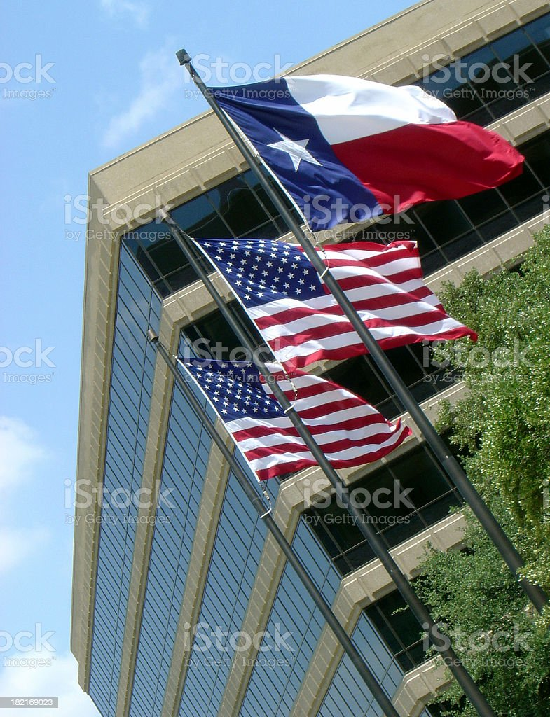Texas and US Flags stock photo