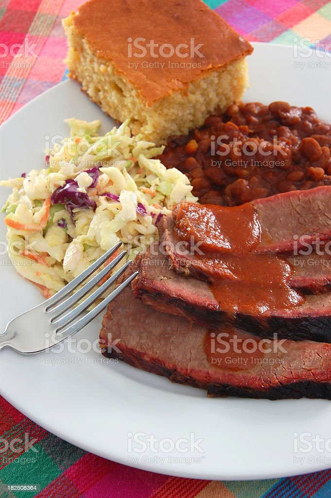 Texas barbecue brisket with beans and coleslaw stock photo